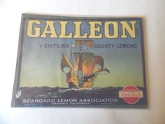 VINTAGE CALEON Ventura County Lemons Seaboard Lemon Assn. Fruit Crate Label/Orig #Seaboard