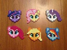 Items similar to My little Pony Set, Perler Beads, magnet, Christmas Ornament on Etsy Melty Bead Patterns, Pearler Bead Patterns, Perler Patterns, Beading Patterns, Perler Beads, Perler Bead Art, Fuse Beads, Perler Bead Designs, My Little Pony Set