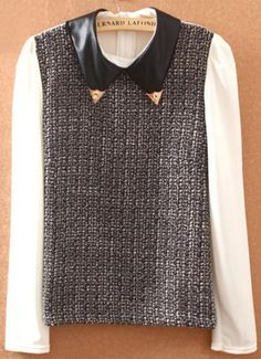 White Grey Contrast Leather Lapel Long Sleeve Blouse