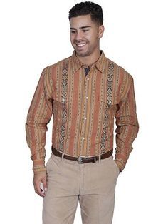 948d6531499 New Scully Men s Rust Colored 100% Cotton Blend Classic Pearl Snap  Signature Series Western Shirt