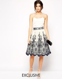 Chi Chi London Premium Embroidered Lace Prom Midi Skirt