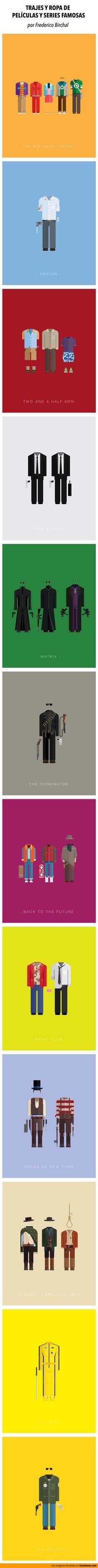 Trajes y ropa de películas y series famosas. Ilustraciones por Frederico Birchal.