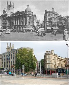 Bristol, England - Then and now. The camera looks straight up Clare Street to Corn Street, with the tower of All Saints Church in the distance. Bristol Cars, Bristol Uk, Old Pictures, Old Photos, Plymouth, Bristol City Centre, Great Places, Places To Visit, Bristol England