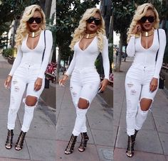 White bodysuit with jeans and gold necklace