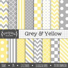 Yellow and Grey Digital Paper Chevrons Polka Dots por Pininkie