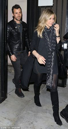 Couple's night out: The actress played it relatively low-key in the style stakes by opting for a LBD as she was joined by hunky husband Justin Theroux