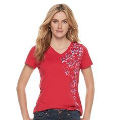 Women's Patriotic Graphic V-Neck Tee,