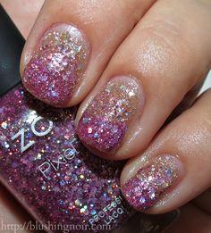 Zoya Summer Magical Pixie Nail Polish Collection Gradient via BlushingNoir Funky Nails, Love Nails, Red Nails, How To Do Nails, Pretty Nails, Hair And Nails, Gradient Nails, Sparkle Nails, Purple Sparkle