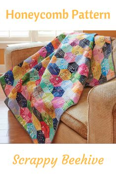 A combination of four-patch quilt blocks and half-square triangles creates an elaborate honeycomb pattern. Perfect for busting your stash, Scrappy Beehive by Jennifer Chon, is a fun scrap quilt to work up.