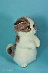Needle felted kitten Businka (-trinny-) Tags: red sculpture green art wool cat real miniature eyes doll artist natural russia felting ooak kitty felt collectable