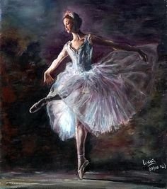 "Ballerina / Bailarina / Балерина / Dancer / Dance / Ballet note says ""Lucia"" Ballerina Kunst, Ballerina Painting, Art Ballet, Ballet Dancers, Ballerinas, Dance Paintings, Oil Paintings, Ballet Beautiful, Dance Photography"