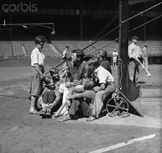 Babe Ruth Conversing with Youngsters 1932