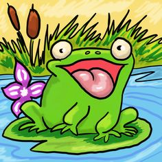 Frog on a lily pad #frog #digitalart