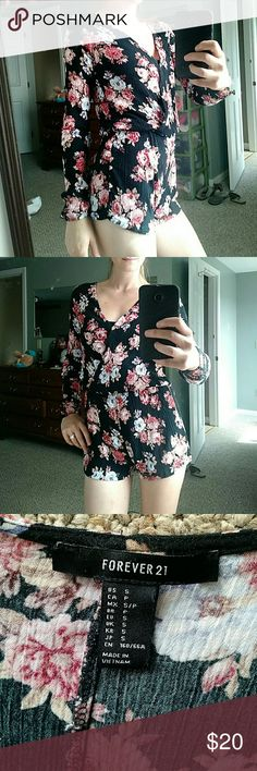 Floral romper Good shape, buttons have had to be sewn back on. Long sleeved Forever 21 Dresses Long Sleeve
