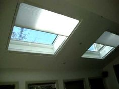 These are the NEW 18 VOLT Battery Operated Skylight shades by Hunter Douglas, They are called Duette with Power-rise,Remote Controlled with wire-less remote using platinum technology (RADIO - FREQUENCY)