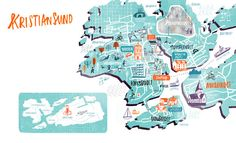 Cathrine Finnema - Map of Kristiansund Norway Kristiansund, Norway Fjords, Different Forms Of Art, Illustration Art, Illustrations, Travel Around The World, Where To Go, Art Forms, Wonders Of The World