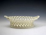 Antique English pottery creamware basket impressed LEEDS late 18th century - Antique Staffordshire Pottery of John Howard