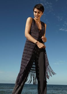 #esprit #spring17 #lookbook with @jilla.tequila #longvest #fringes #stripes #pants