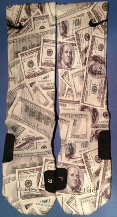 Benjamins Full  Custom Nike Elite Money Sock by DopeSocksAndStuff, $32.99