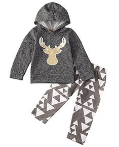 Toddler Kids Baby Boy Girls Deer TshirtPants Outfits 2PCS Hooded Clothes Set 1218 Months Gray >>> Click image to review more details.Note:It is affiliate link to Amazon.