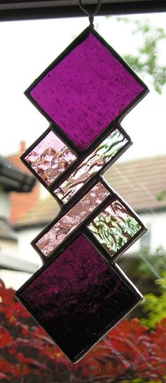 Abstract Stained Glass Suncatcher Handmade in England