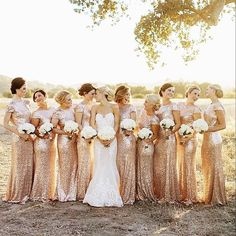 """Tag your girls ✨✨✨ LOVE the gold dresses for bridesmaids ✨✨✨ @chardphoto & @badgleymischka  dresses"""