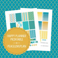 Turquoise Gold MAMBI Happy Planner Printable - Weekly Set, Happy Planner Stickers, PDF Instant Download