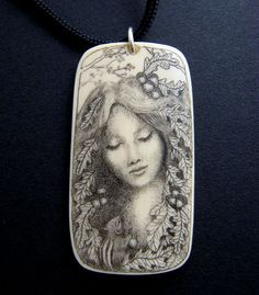 "Original Scrimshaw pendant  ""Woodland Goddess"""