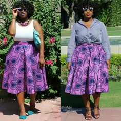In My Joi: About Purple, 1 Skirt 2 Ways #midiskirt #ankara #boldcolor #africaninspired #plussize #customamde #psblogger