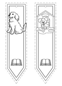 Marcapáginas de perros Free Coloring, Adult Coloring, Coloring Sheets, Coloring Pages, Free Printable Bookmarks, Corner Bookmarks, Book Markers, Parchment Craft, Animal Projects