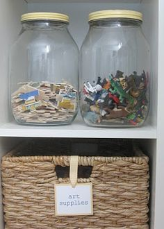 Organizing small toys in jars