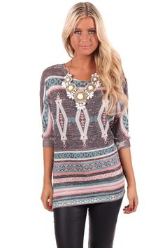 Lime Lush Boutique - Grey Knit Dolman Sleeve Patterned Top, $44.99 (http://www.limelush.com/grey-knit-dolman-sleeve-patterned-top/)