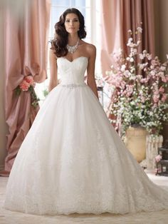 David Tutera - Lace wedding gowns, strapless embroidered lace and tulle ball gown wedding dress, sweetheart neckline with eyelash trim, soft embroidered lace bo