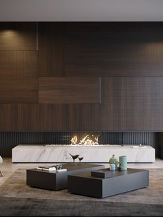 """Volans is a minimalist living room where is applied the concept """"Less is More"""". The natural wood tones prevail overt the decor but are smoothly Home Room Design, Home Interior Design, Living Room Designs, House Design, Living Room Modern, Living Room Interior, Home Living Room, Modern Fireplace, Fireplace Design"""