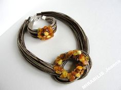 Rosette cappuccino  SET with amber,  Handmade