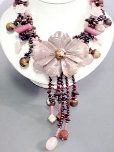 Semi-precious Stone Handwoven Flower Neckla