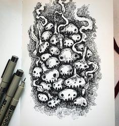 "Stephanie Bayles 🖤 Illustrator on Instagram: ""Day 2 ~ Catacombs . . . . #ink #inktober #inktober2019 #mabsdrawlloweenclub #mabsdrawlloween #drawlloween #blackandwhite #instart #instaart…"" Illustrators, Inktober, Halloween Illustration, Illustration, Drawings, Spooky, Art, Whimsical"