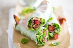 BLT Spring Roll via White on Rice Couple This lunchtime entree is basically a bacon, lettuce, and tomato sandwich...minus the sandwich. Instead of stacking ingredients on toast, roll 'em up in rice paper. This healthy recipe gets flavor from fresh herbs like basil and mint, not mayo.
