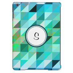 Monogram Blue Green Geometric | Your Custom iPad Case for iPad Air, iPad 2/3/4, iPad mini