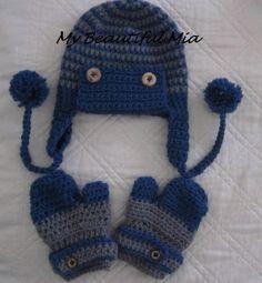 BabyToddler Hat and Mitten Set by MyBeautifulMia on Etsy, $18.00