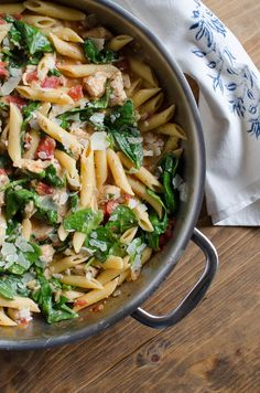One-Pot Chicken Spinach Skillet Pasta
