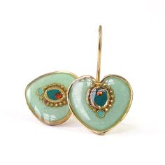 Gold Heart Earrings light green  mint color by @SigalitAlcalai, $50.00