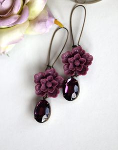 Purple Love  An Amethyst Vintage Glass Oval Jewels by Marolsha, $21.90
