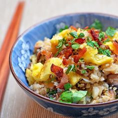 """ASIAN CAULIFLOWER FRIED """"RICE"""" * Howdy! It's Michelle of @nomnompaleo here to share one of my fave one-bowl meals! * Serves 6 * Ingredients: 3 slices of bacon, cross-cut into ¼-inch pieces (check ingredients!) 1 medium cauliflower head, cut into uniform pieces (or 12 oz frozen cauli rice) 2 large eggs Kosher salt Freshly ground black pepper 2 tablespoons ghee or coconut oil 1 small yellow onion, minced 4 oz cremini mushrooms, thinly sliced 1 (1-inch) piece of fresh ginger, peeled and finely…"""