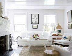 I think I like these all white rooms Vintage-All-White-Living-Room-sofa-furniture-at-contemporary-beach-cottage Cottage Living Rooms, Living Room White, White Rooms, Living Room Sofa, Home And Living, Living Room Furniture, Living Room Decor, Living Spaces, White Walls