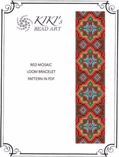 Bead loom pattern - Red mosaic LOOM bracelet pattern in PDF - instant download