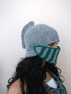 Gray and Green Crochet Knight Hat-Knight Hat with Movable and Detachable Face Mask-for fantasy and adventure play-Medieval knight helmet hat...