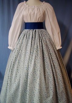 Costume Skirt - Pioneer SASS, Victorian Tea, Civil War Reenactment - Royal Blue Floral Scroll Cotton Print - Handmade.