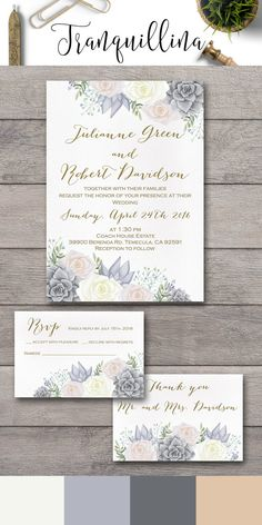 Floral Wedding Invitation Printable, Succulent Wedding Invite, Wedding Stationery,  Pink,Gray & Ivory Wedding Ideas, Wedding Planning, Affordable Elegant & Modern Wedding Invitatons: tranquillina.etsy.com