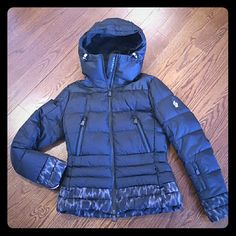 Authentic Moncler Down Jacket / Ski Jacket Size 2 Authentic Moncler Down Jacket / Ski Jacket. Size 2. Worn once, it's a little big for me. Like new condition. Moncler logo on the left arm. Super warm and stylish. Won't go wrong with it. Moncler Jackets & Coats Puffers